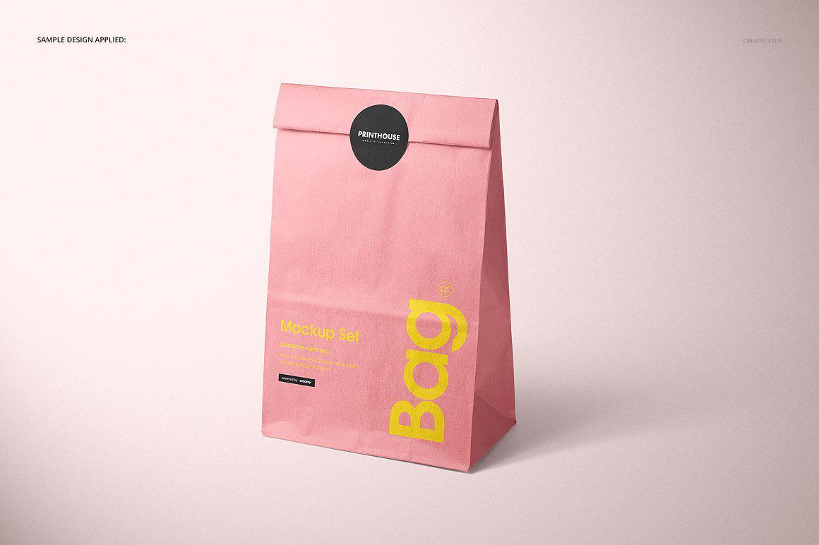 零食包装纸袋样机PSD贴图模版Lunch Bag Mockup Set