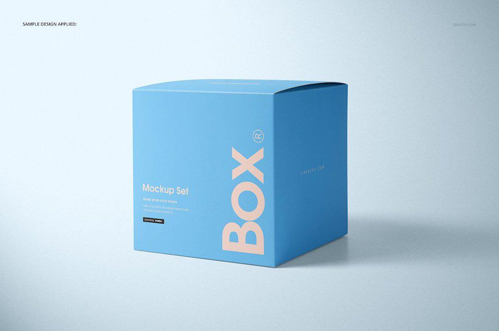 哑光礼品方盒纸盒样机PSD素材贴图模版Matte Gift Square Box Mockup Set