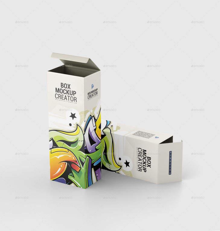 产品包纸盒装盒样机PSD素材贴图模版box mockup