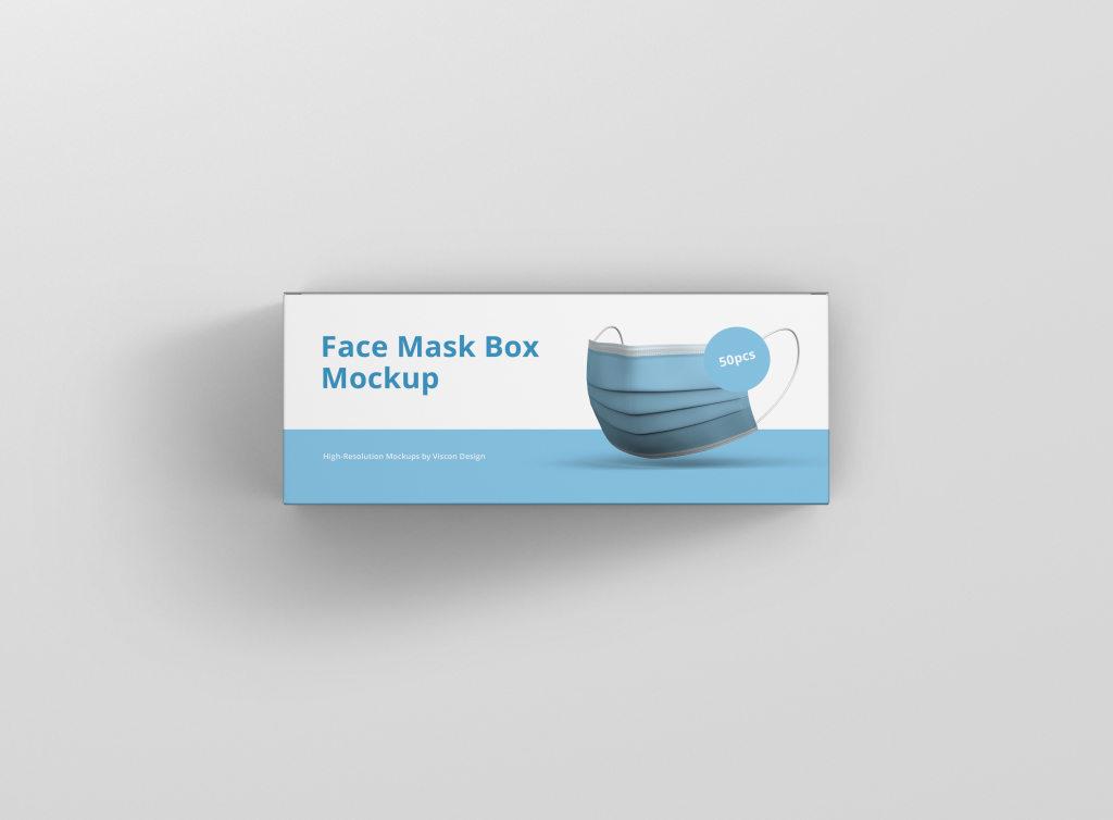 口罩包装盒样机PS素材贴图模版 Face Mask Box PSD Mockup