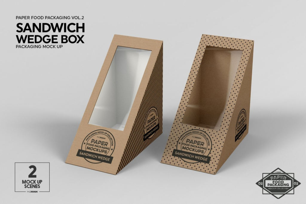 三明治包装设计PS素材样机贴图Sandwich Wedge Box Packaging Mockup