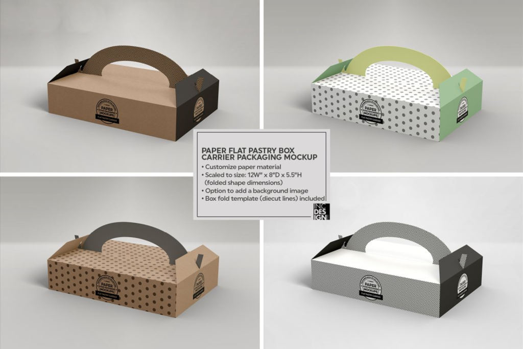 烘焙食品蛋糕礼盒手提盒样机PS素材贴图PastryDonut Box Carrier Mockup