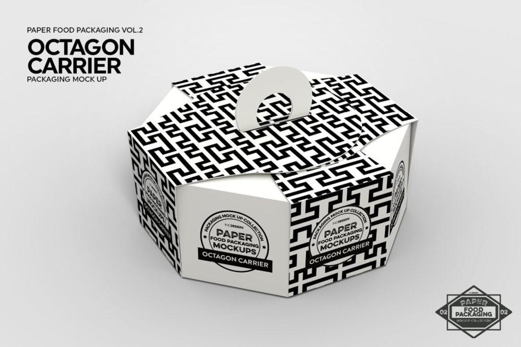 八边形食品糖果礼盒包装盒样机ps素材贴图Octagon Box Carrier Packaging Mockup