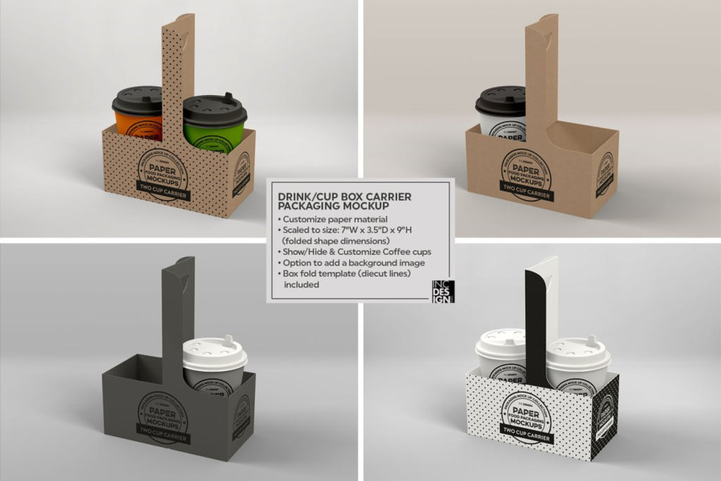 咖啡饮料外卖手提包装盒样机ps素材贴图Drink Cup Carrier Packaging Mockup