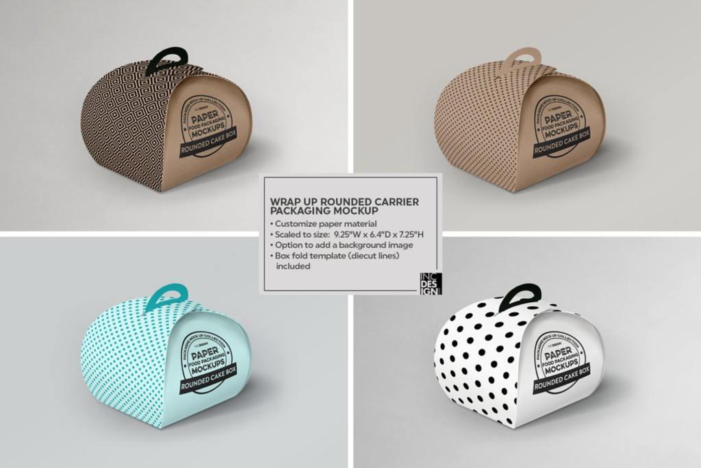 烘焙食品蛋糕包装盒样机ps素材贴图WrapUp Cake Carrier Packaging Mockup