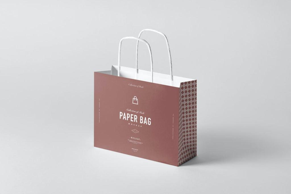 高端手提袋环保袋纸袋子样机PS素材贴图paper bag mock up
