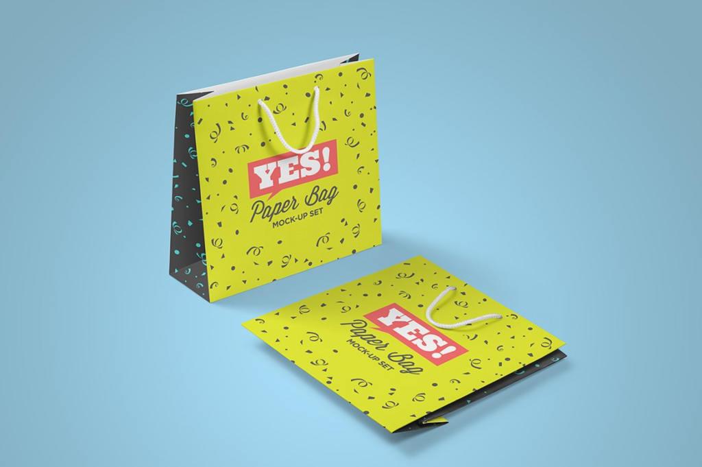 高品质方形房地产购物袋纸袋样机ps素材贴图Square Paper Bag Mock-Up Vol.2
