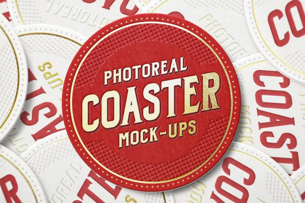 咖啡啤酒杯垫烫金logo样机ps素材贴图模板Photoreal Coaster Mockup Bundle Logo