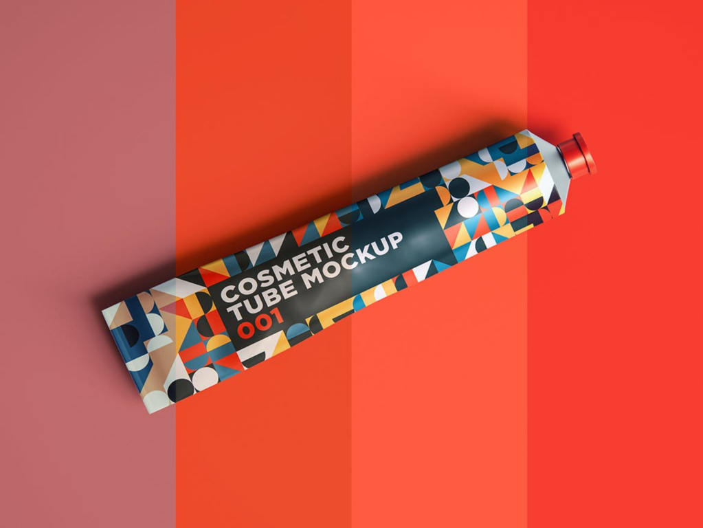 化妆品牙膏罐装包装样机ps素材模板贴图Cosmetic Tube Mockup 001