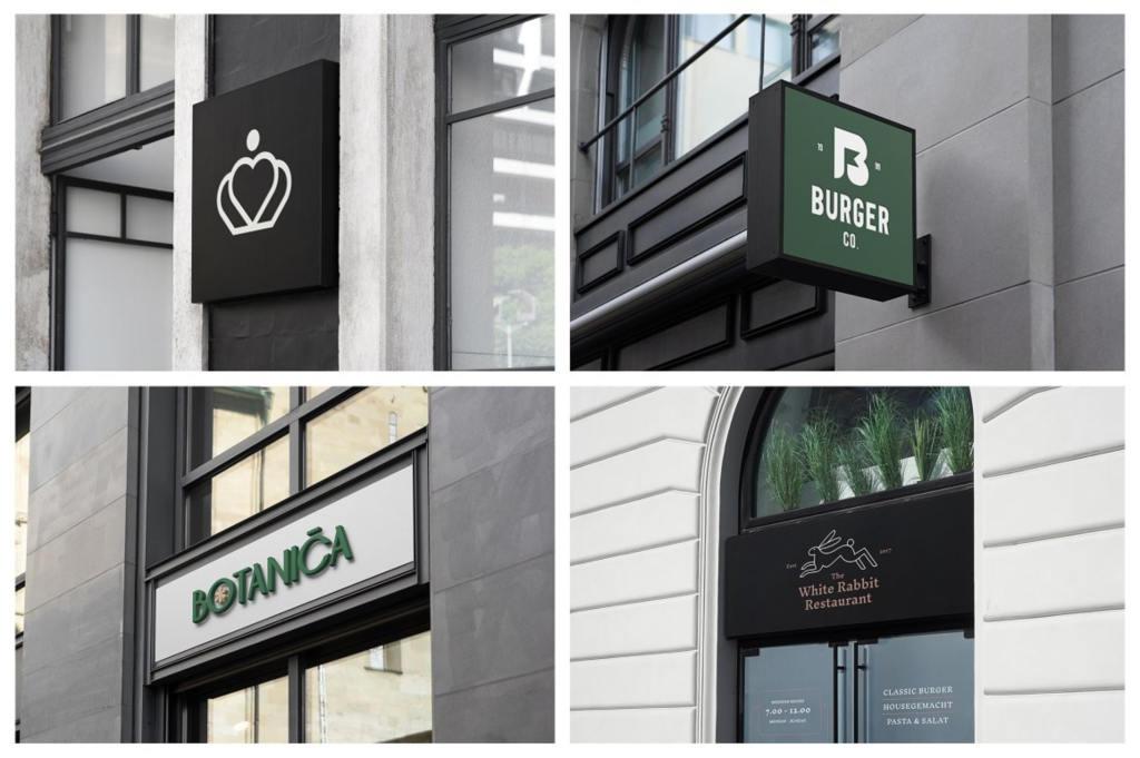 店面招牌灯箱Logo样机ps素材模板贴图Sign Mockups and Storefront Mockups