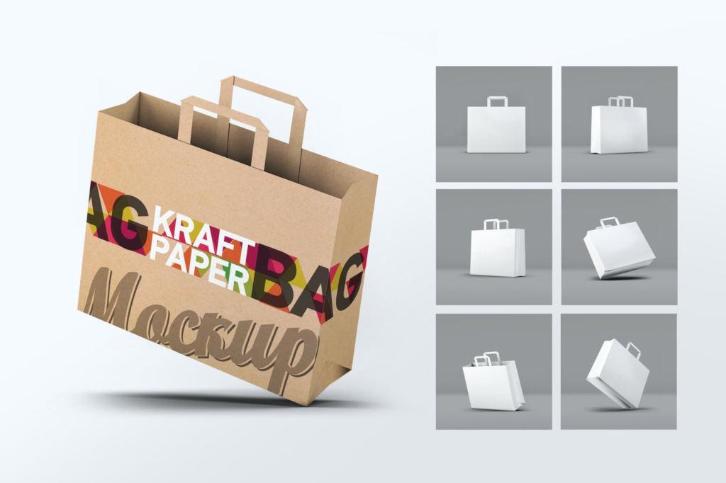 高品质的牛皮纸袋样机购物袋手提袋展示贴图ps素材模板kraft paper bag mock up 9MUTTB