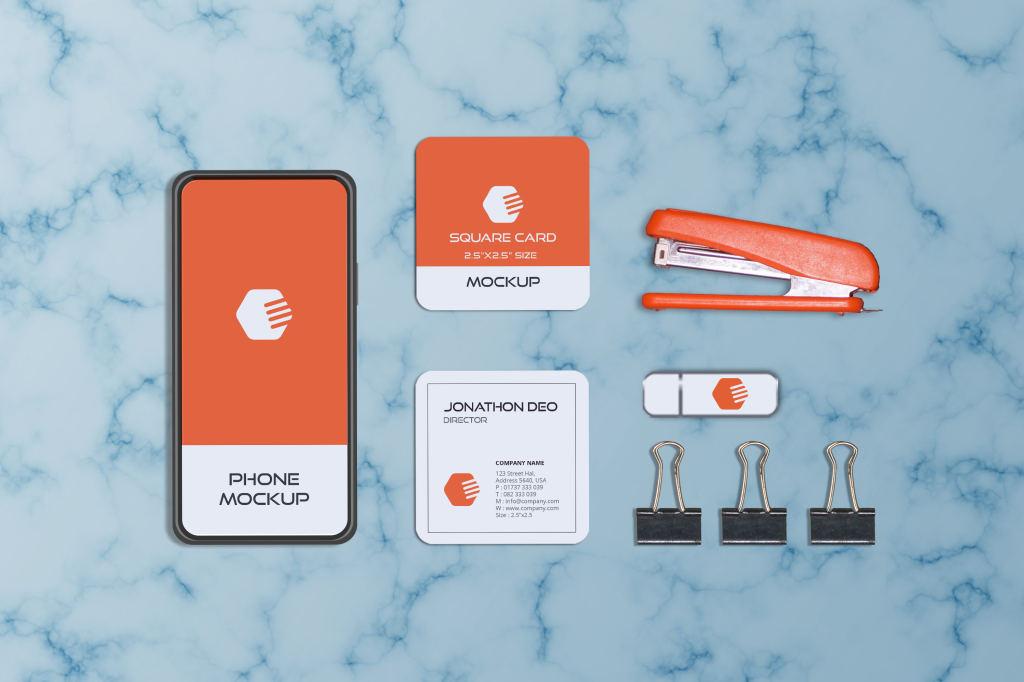 方形商务卡片大理石品牌VI样机ps素材模板Square Business Card Mockup
