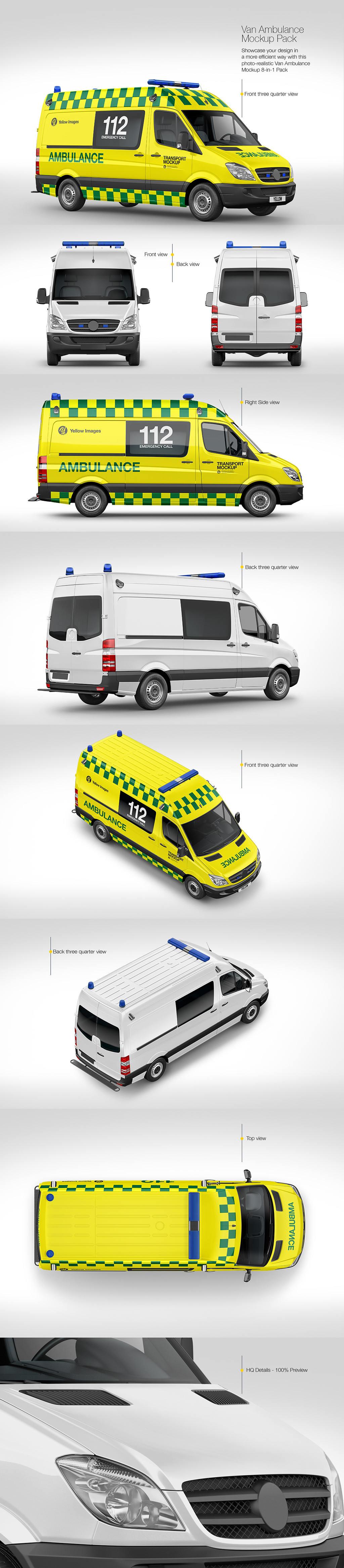 多角度警车救护车面包车样机贴图模板Van Ambulance Mockup Pack