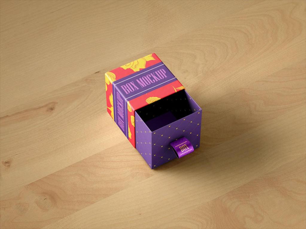抽拉礼盒包装盒样机ps素材贴图模板Package Box Mock Up