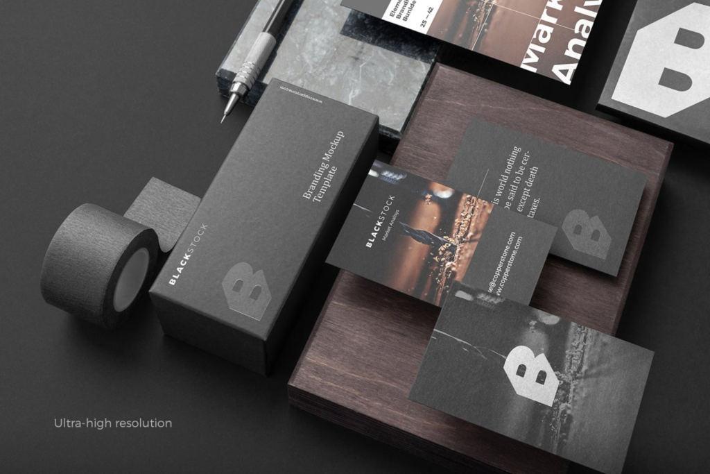 高质感黑色办公文具品牌VI样机ps素材贴图Blackstock Branding Mockup Kit