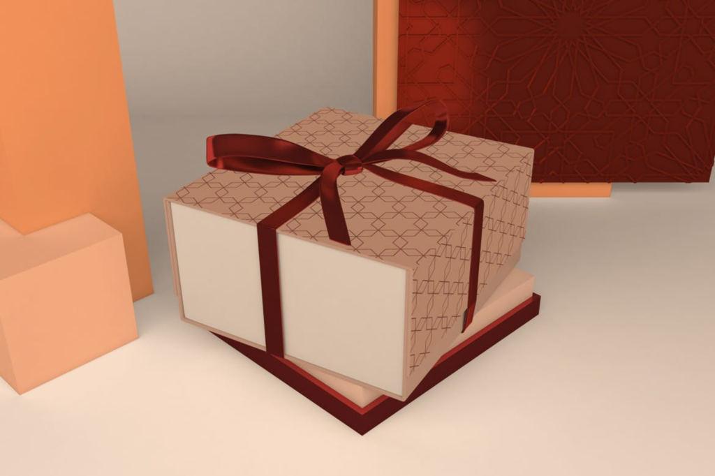 高端礼品礼盒包装样机ps素材贴图模板Arabic Gift Box Mockup