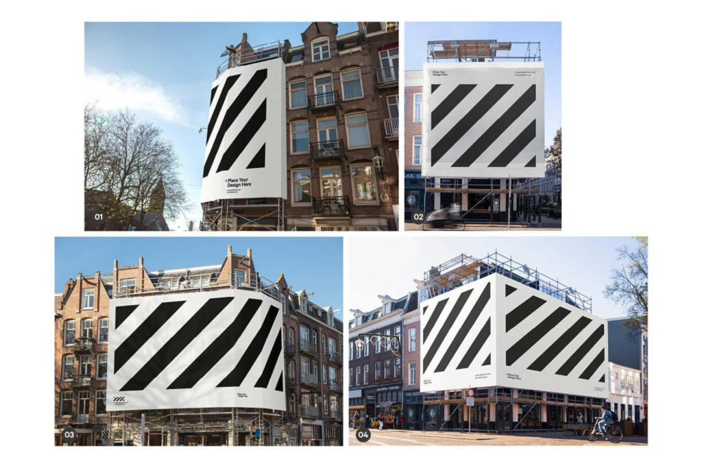 高清户外广告牌海报样机贴图psd效果图模板4x Billboard Construction Mockups