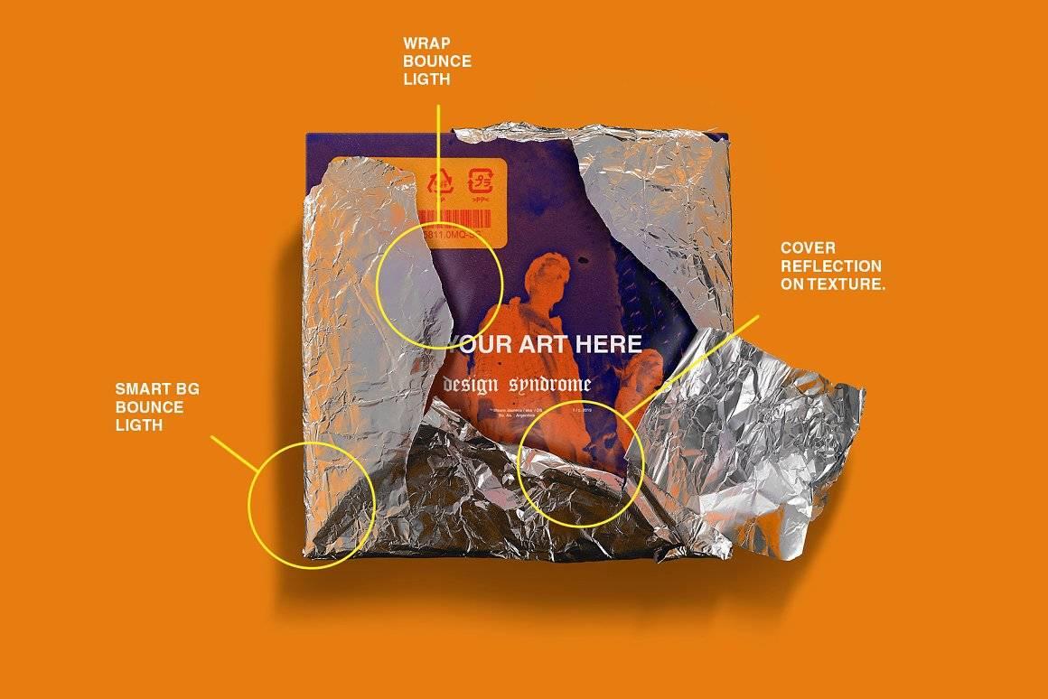 潮流金属铝箔锡纸CD包封面设计展示样机模板PS素材 Metallic Wrap Mockup Pack