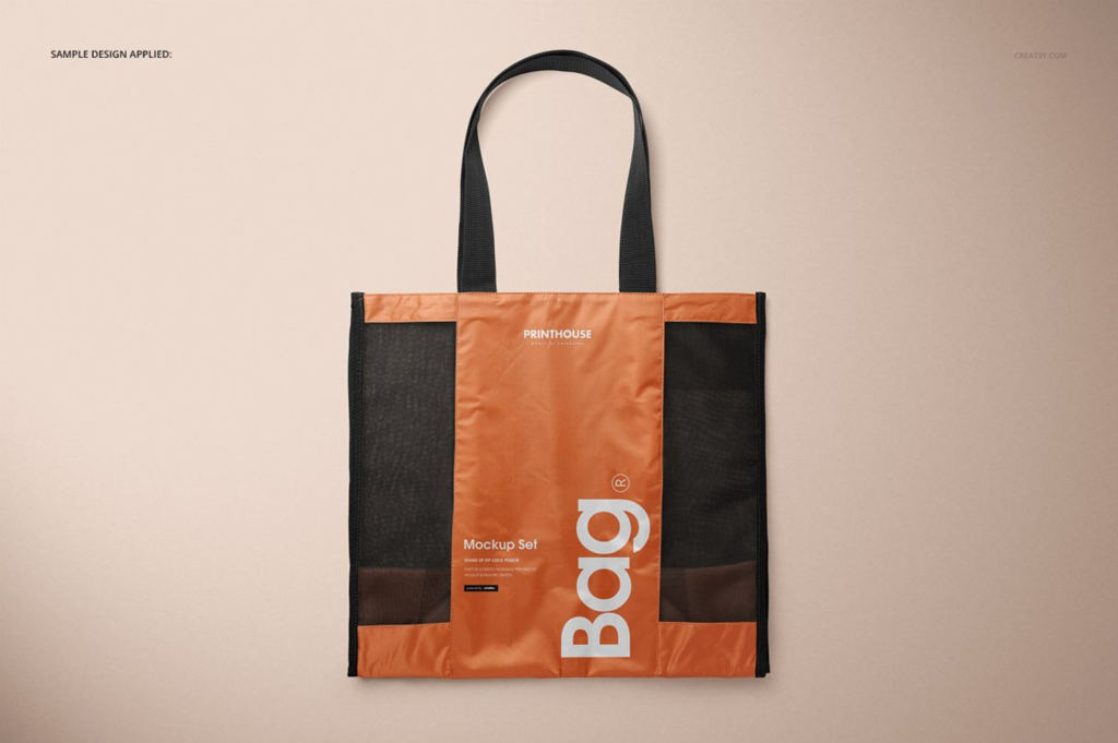 织网手提购物袋设计展示样机PS素材贴图模板 Mesh Shopping Tote Bag Mockup Set