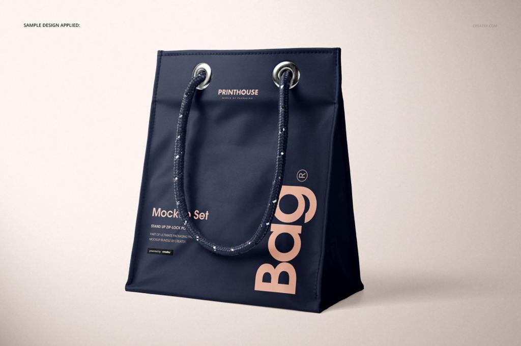哑光PVC购物手提袋样机ps素材贴图模板 Matte PVC Reusable Tote Bag Mockups