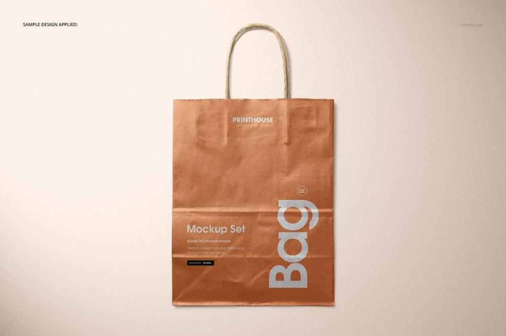 复古纸袋包装袋手提袋样机ps贴图模板Metallic Kraft Paper Bag Mockup Set
