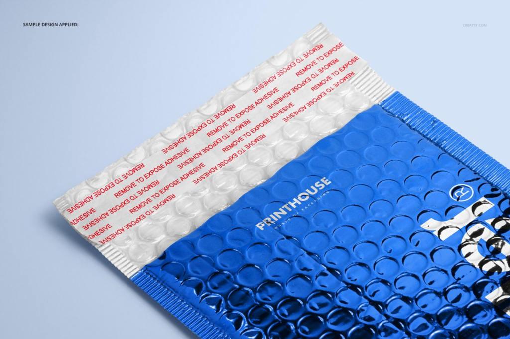 快递包裹气泡密封袋设计展示样机ps贴图模板Metallic Bubble Mailer Mockup Set