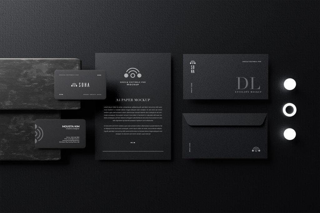 黑色高端名片信封品牌设计展示样机ps贴图模板 Black Stationery Mockup
