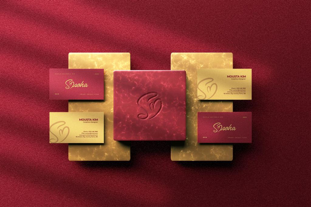 优雅商务名片卡片设计展示PSD样机模板 Elegant Business Card Mockup