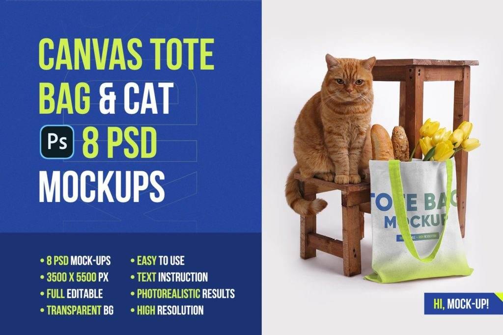 高质量无纺布帆布袋样机ps贴图模板Canvas Tote Bag Mockups Vol 2