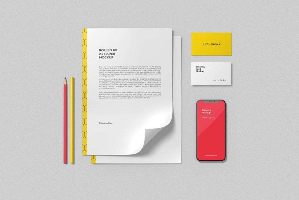 简约品牌Logo设计办公用品展示样机贴图ps素材模板 Branding Mockup Scene Creator