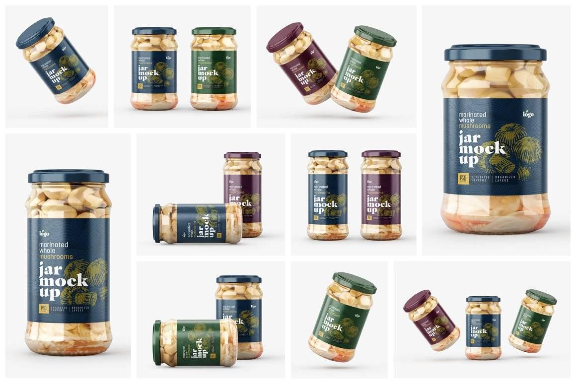 罐头玻璃瓶包装样机标签设计展示贴图ps素材 Whole Mushroom Jar Mockup Set