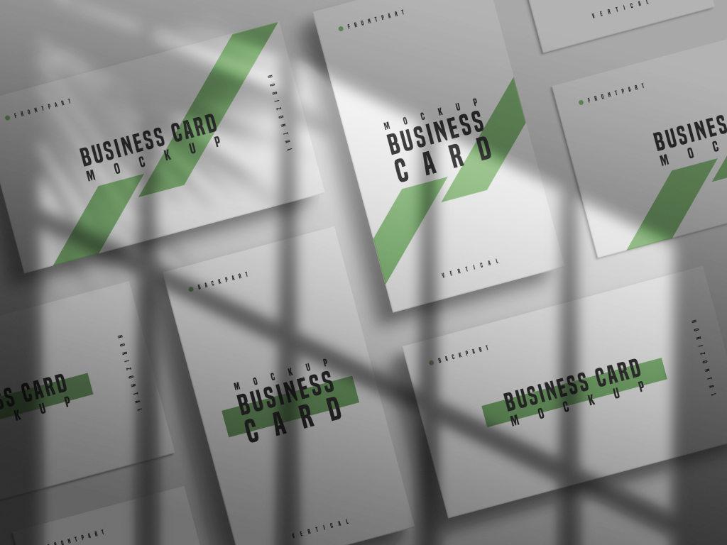 多角度投影名片样机ps智能贴图模板Horizontal and vertical business card mockup