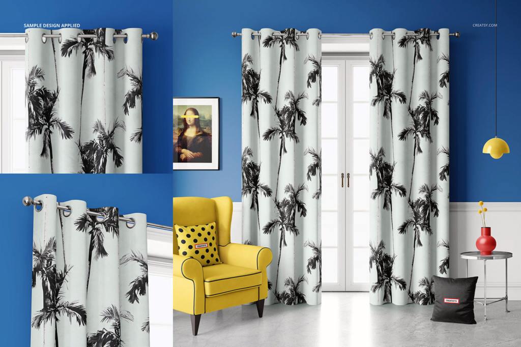 褶皱窗帘样机PS素材智能贴图模板Velvet Eyelet Curtains Mockup Set