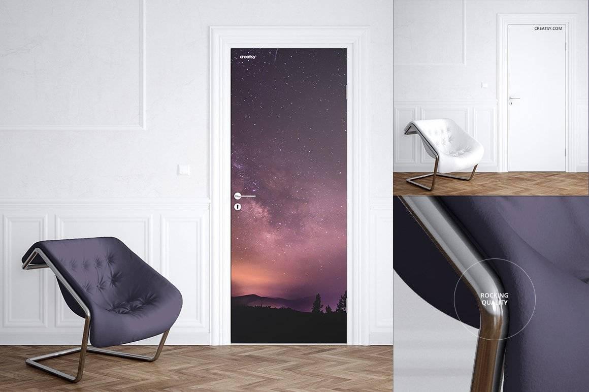 室内门壁画设计展示样机ps素材智能贴图 Door Murals Mockup Set