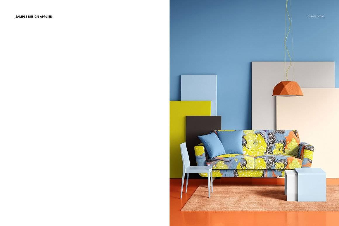 时尚沙发样机布料印花图案展示PSD素材智能贴图 Modern Sofa Mockup Set (29FFv.10)