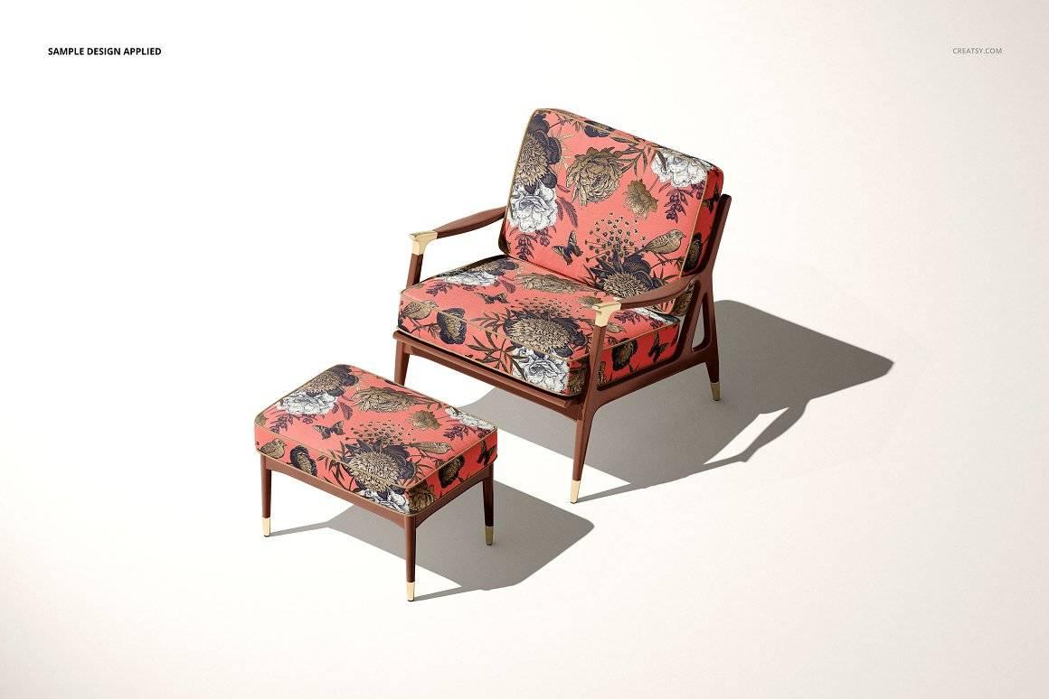 休闲扶手椅子样机布料印花图案设计PS素材智能贴图Lounge Chair & Ottoman Mockup Set