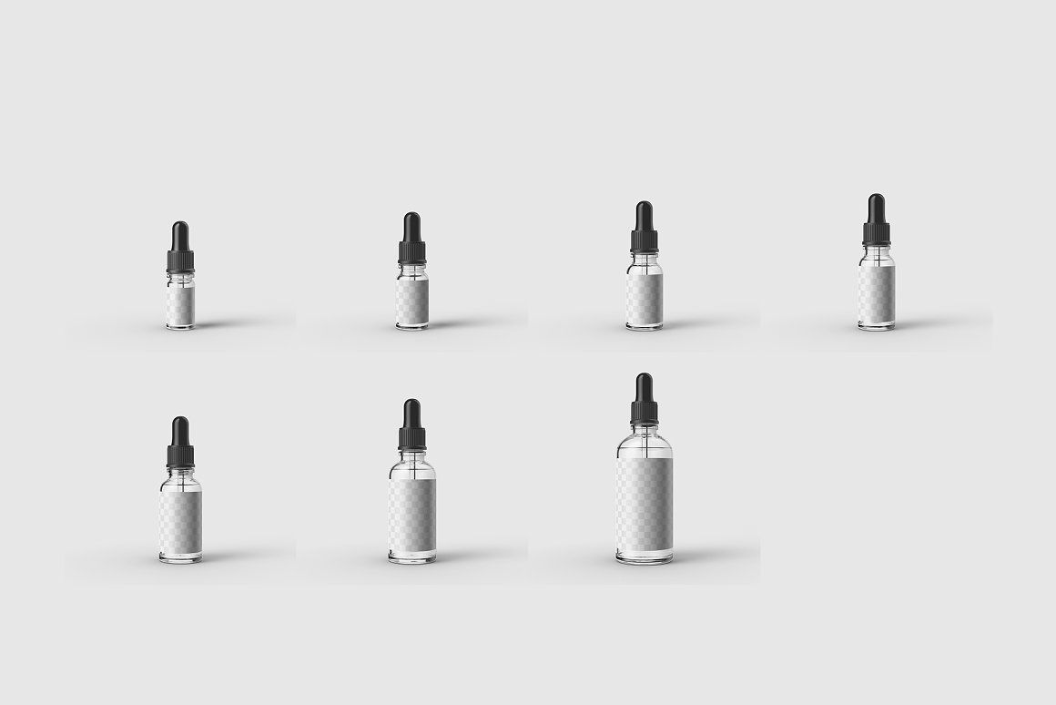 7款透明玻璃滴管精油瓶子样机ps智能贴图素材 7 Glass Dropper Bottle MockUp