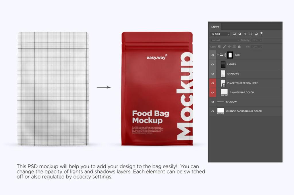 哑光咖啡袋包装袋样机ps贴图模板Matte Coffee Bag Mockup
