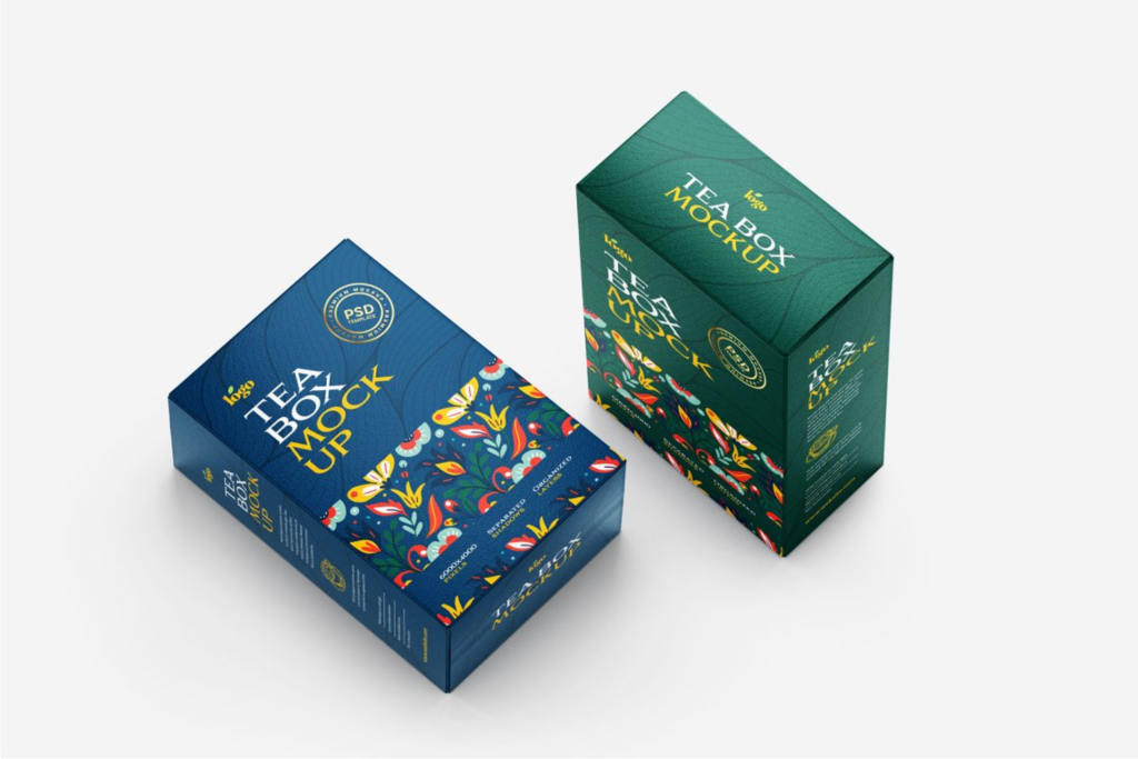 茶叶包装纸盒样机ps素材贴图 Tea Box Packaging Mockup Set