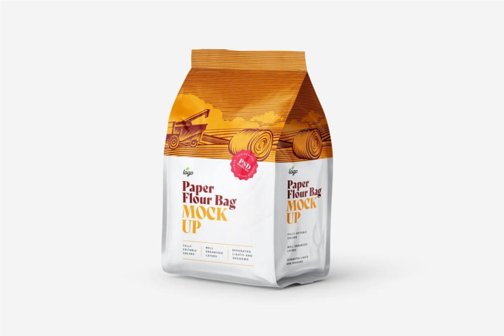 12个逼真食品面粉自封袋包装袋样机PS贴图模板 Paper Flour Bag Mockup Set Pouch