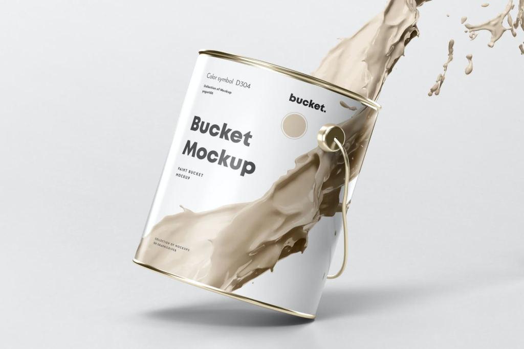 6款铁罐油漆桶包装样机ps素材贴图Paint Bucket Mock up