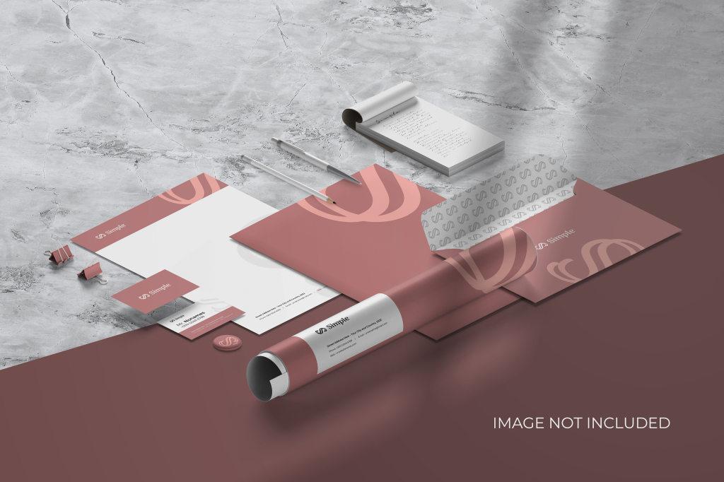 品牌办公用品名片画册VI样机ps素材贴图 Isometric Stationery Branding Mockup Scene Creator