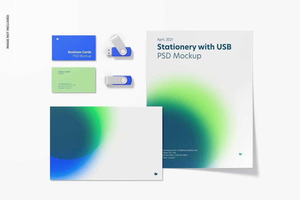 时尚科技白色品牌VI样机ps素材贴图模板Stationery with usb flash drives mockup