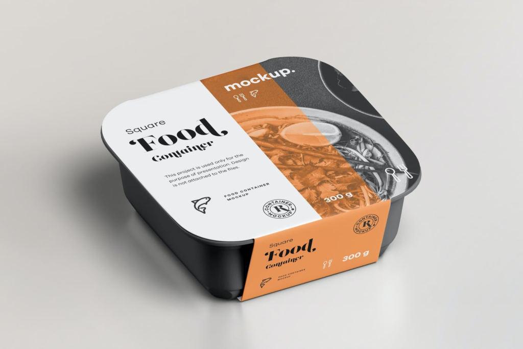 8款正方形快餐食品水果外卖包装盒样机ps贴图模板Square FoodContainer Mock-up