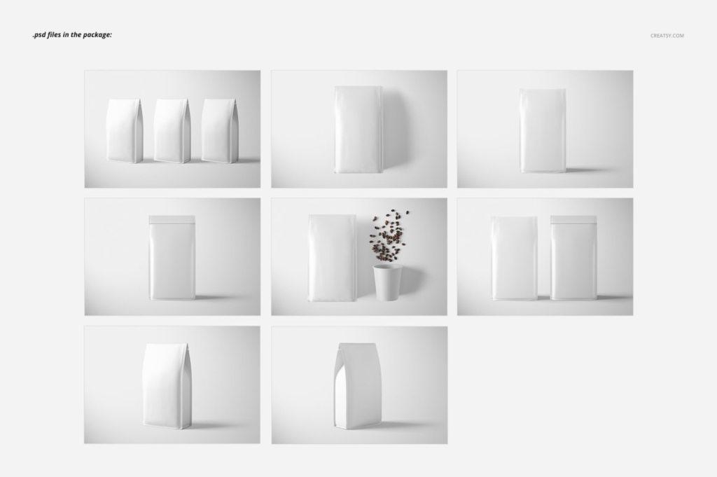 8款咖啡包装袋自封袋包装样机PS贴图模板Paper Coffee Bag Mockup Set