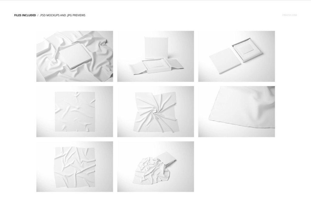 时尚布料褶皱包装样机PS素材贴图模板 Lightweight Cashmere Scarf Mockup